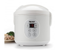 Aroma - 8 Cup White Cool Touch Digital Rice Cooker & Food Steamer