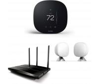 ecobee3 lite Smart Thermostat, 2nd Gen, Black + TP-Link AC1200 Gigabit Smart WiFi Router + ecobee Room Sensor 2 Pack with Stands
