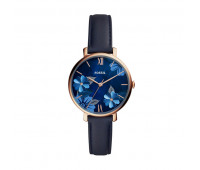 Fossil Women's Jacqueline Three-Hand Navy Leather Watch