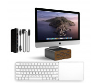 Twelve South bundle with MagicBridge Wireless Keyboard and Trackpad for Apple + HiRise Pro Display Stand for iMac - Gunmetal + StayGo USB-C Hub